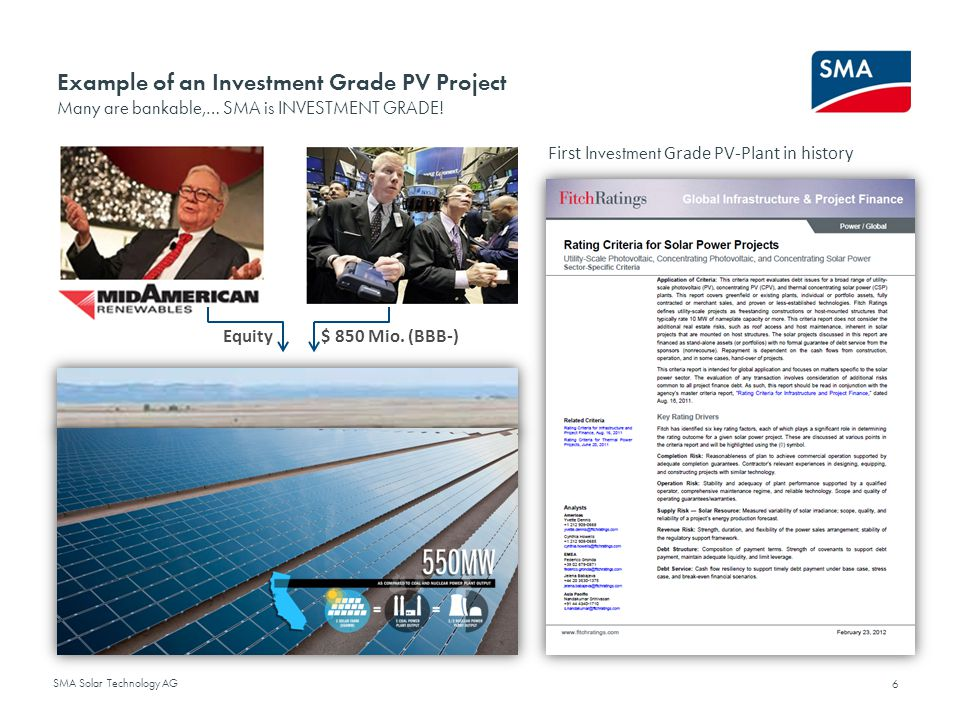 Example of an Investment Grade PV Project Many are bankable,… SMA is INVESTMENT GRADE!