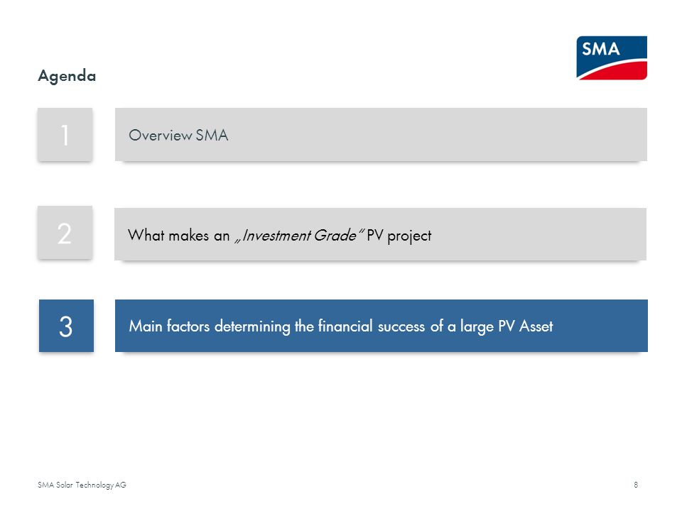 "1 2 3 Agenda Overview SMA What makes an ""Investment Grade PV project"