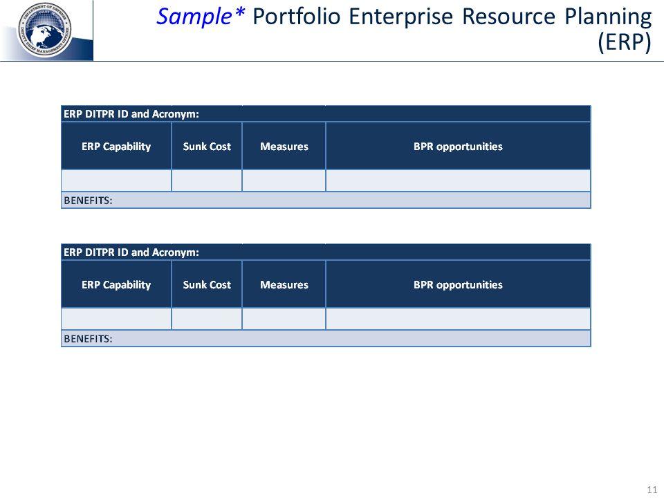 Sample* Portfolio Enterprise Resource Planning (ERP)