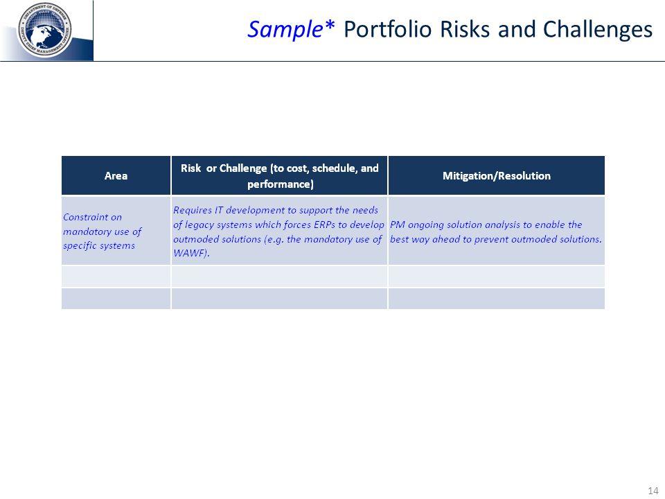 Sample* Portfolio Risks and Challenges