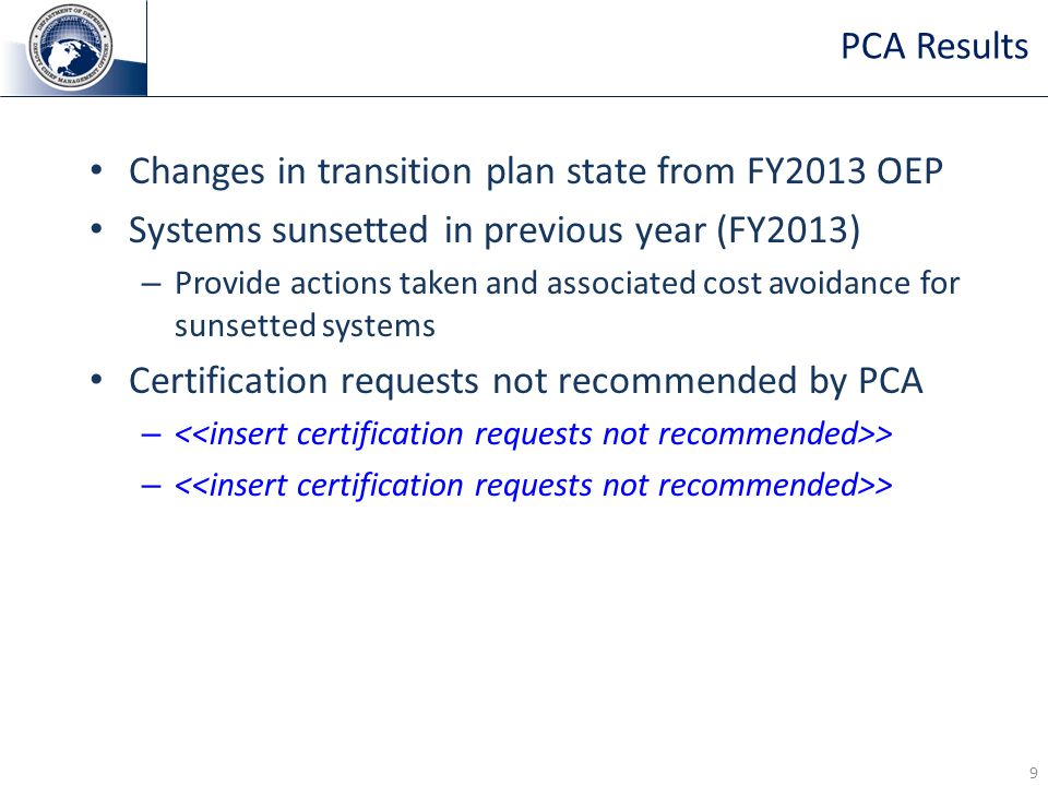 Changes in transition plan state from FY2013 OEP