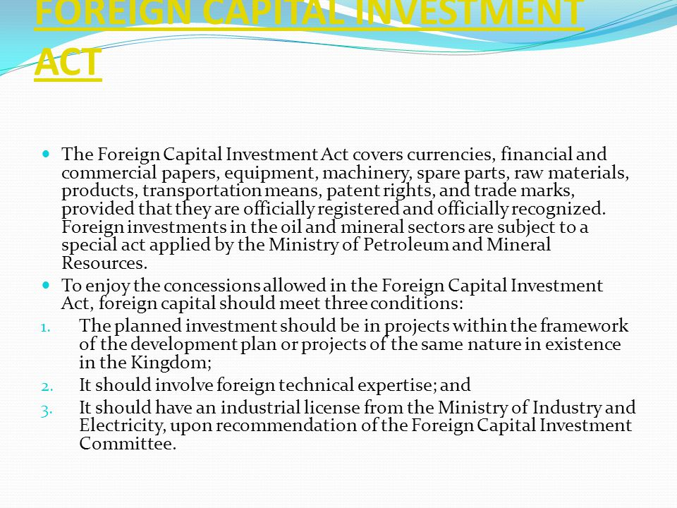 FOREIGN CAPITAL INVESTMENT ACT