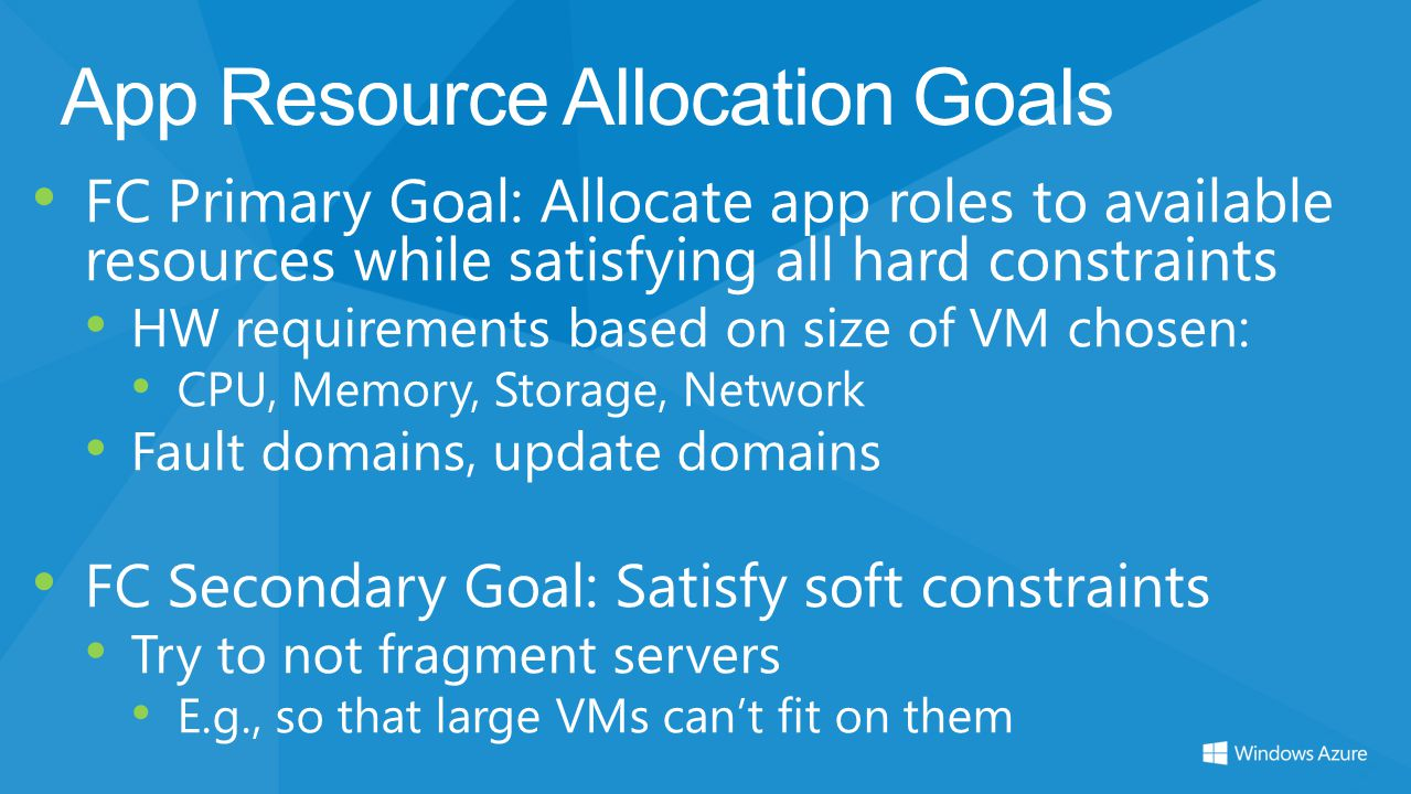 App Resource Allocation Goals