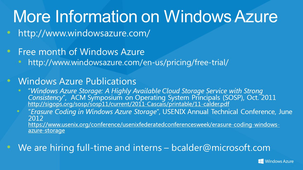 More Information on Windows Azure