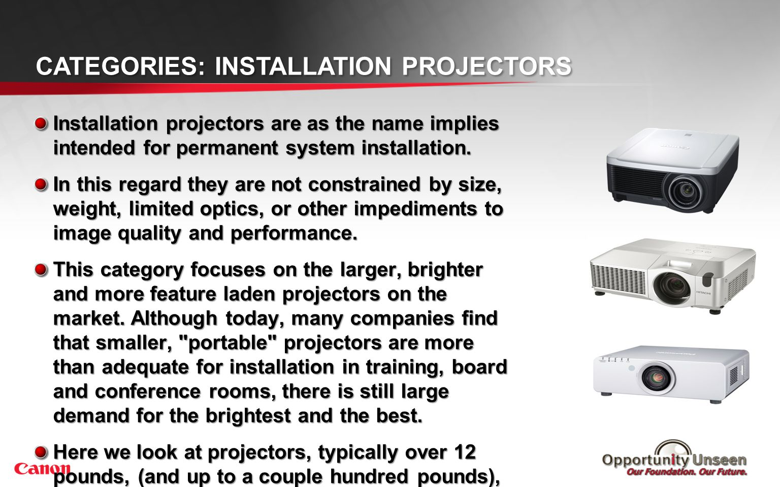 Categories: Large Venue Projectors