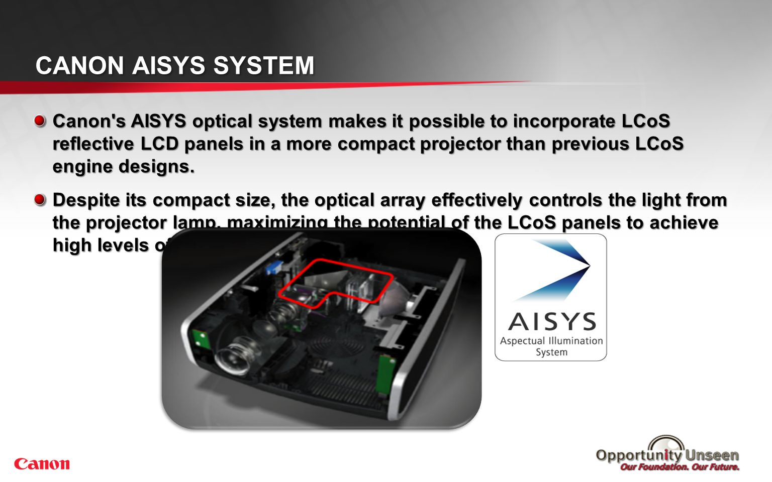 Canon AISYS System AISYS advantages