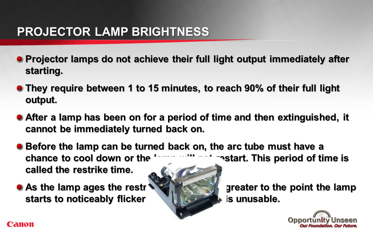Projector Lamp Life Various operating conditions can affect the average life of lamps.