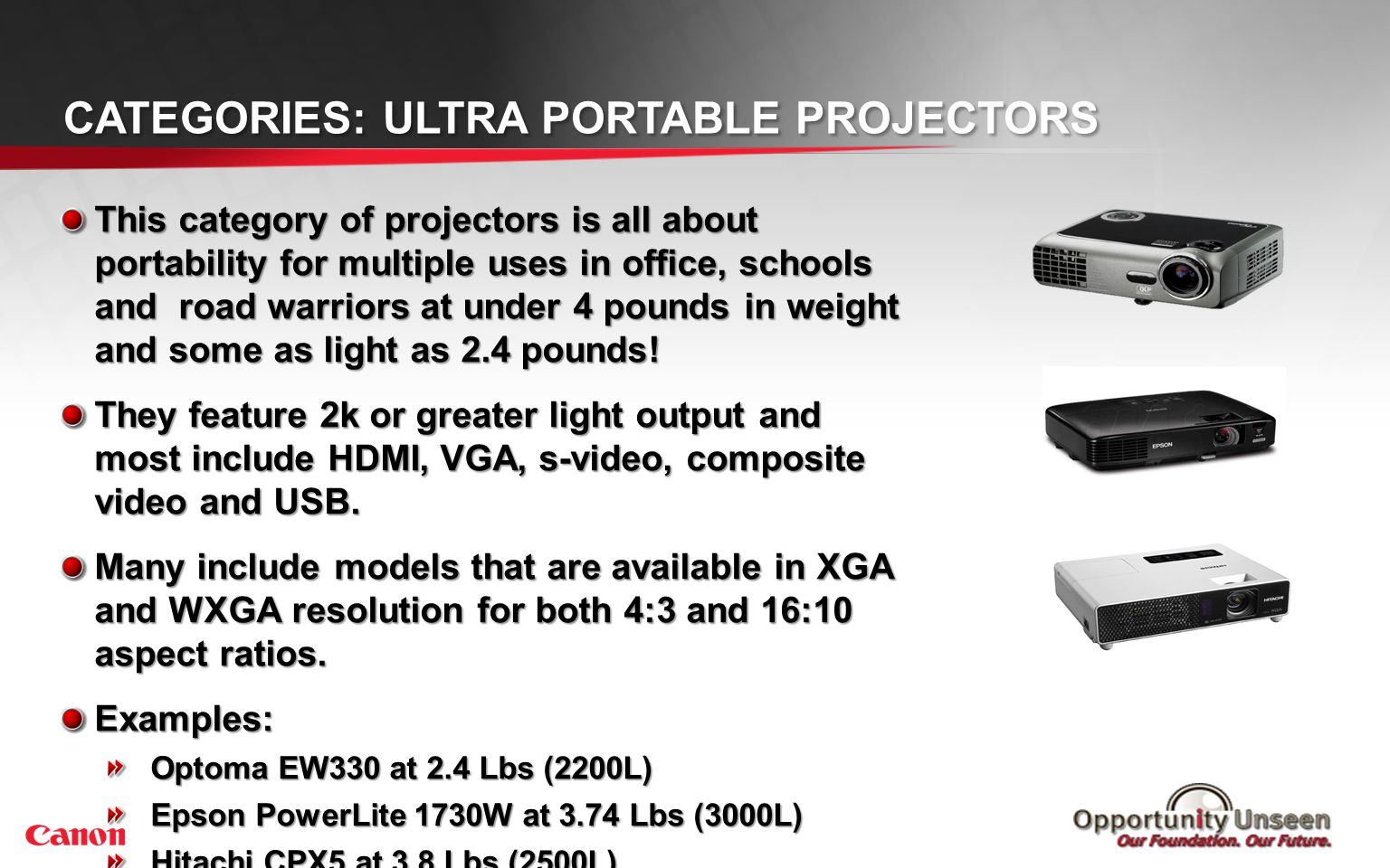 Categories: Portable Projectors <10 Lbs
