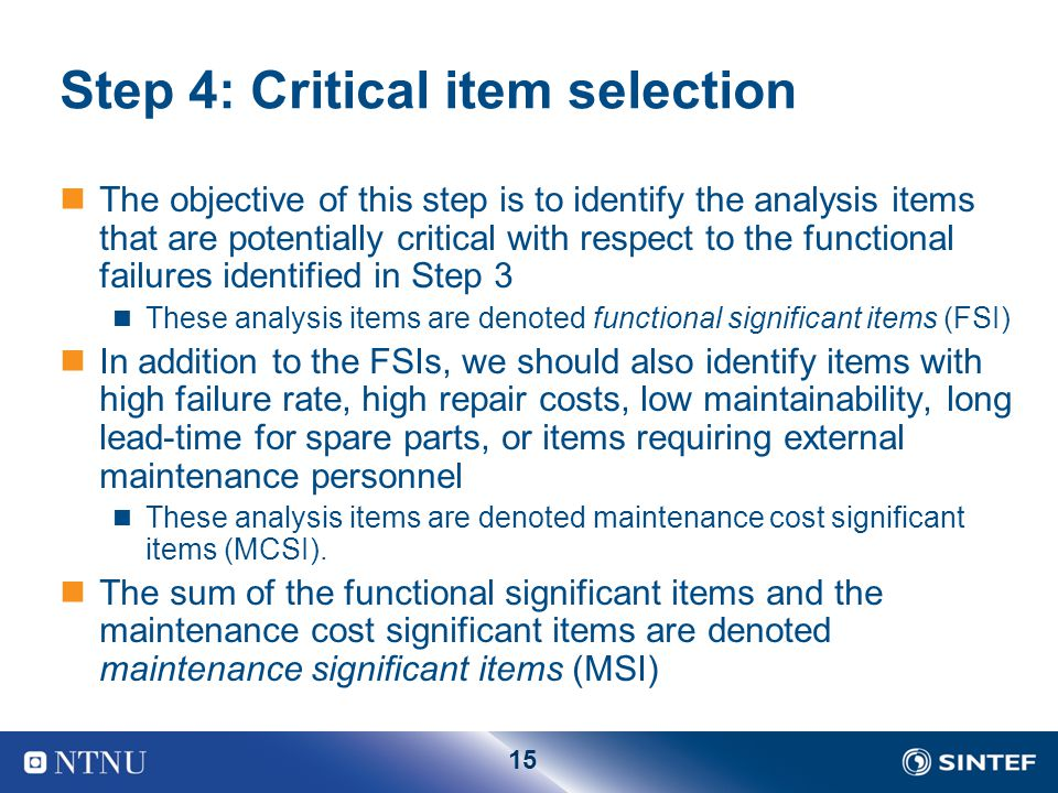 Step 4: Critical item selection