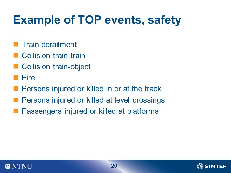 Example of TOP events, safety