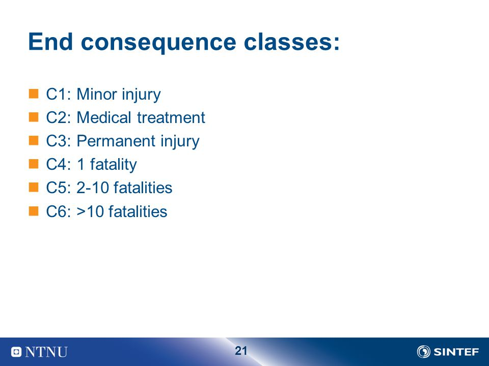 End consequence classes: