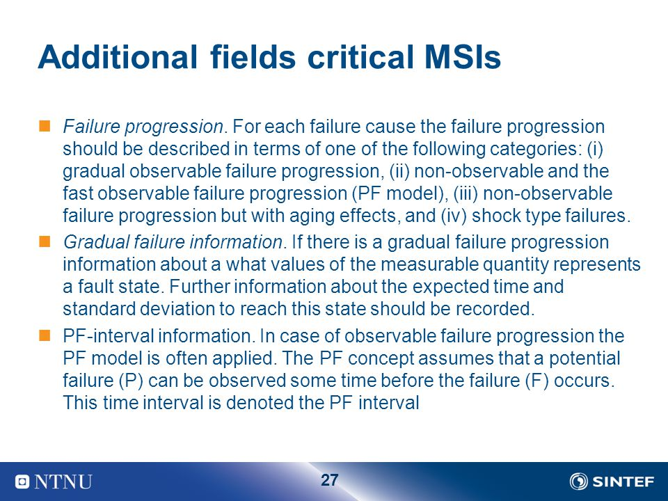 Additional fields critical MSIs