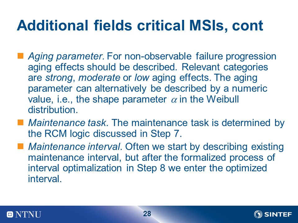 Additional fields critical MSIs, cont