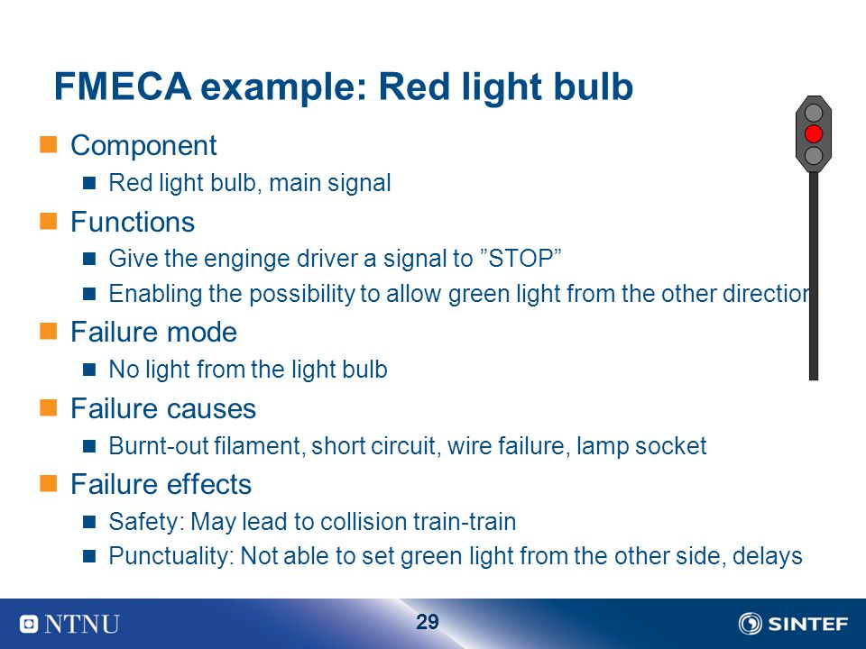 FMECA example: Red light bulb