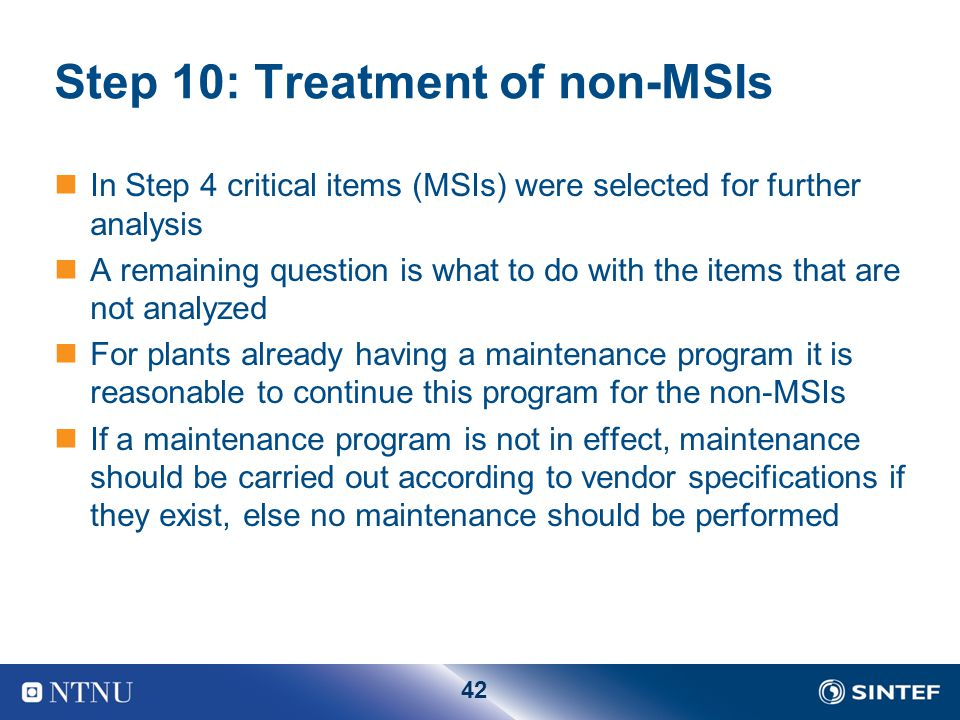 Step 10: Treatment of non-MSIs