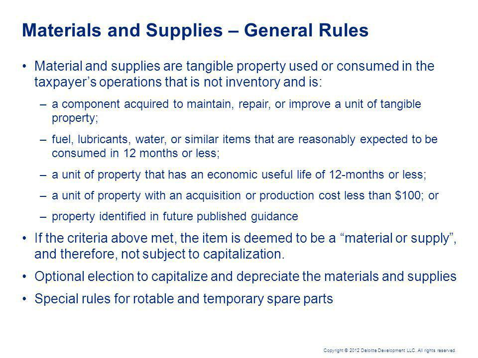 Materials and Supplies – Issues and Considerations