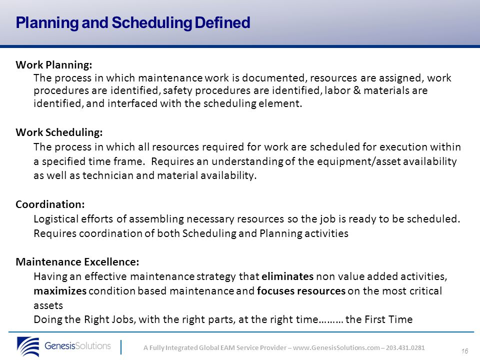 Planning and Scheduling Defined