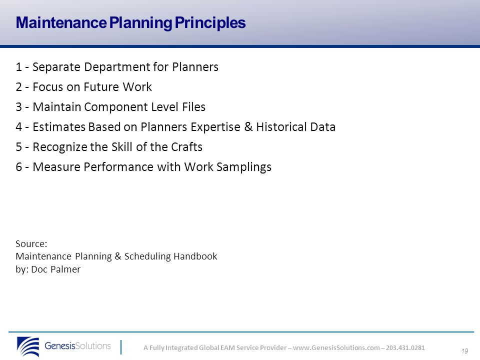 Maintenance Planning Principles