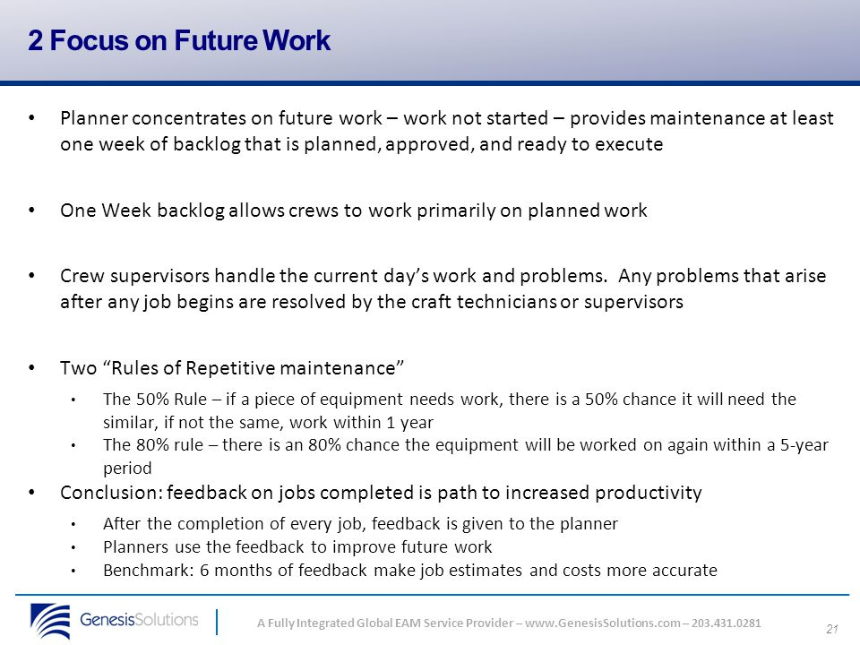 2 Focus on Future Work