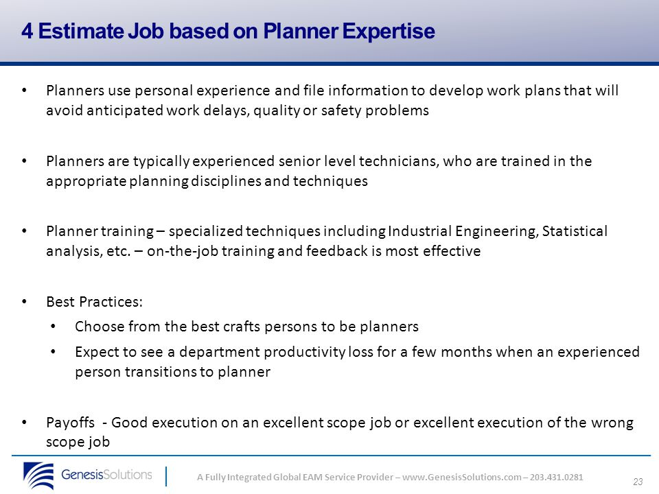 4 Estimate Job based on Planner Expertise