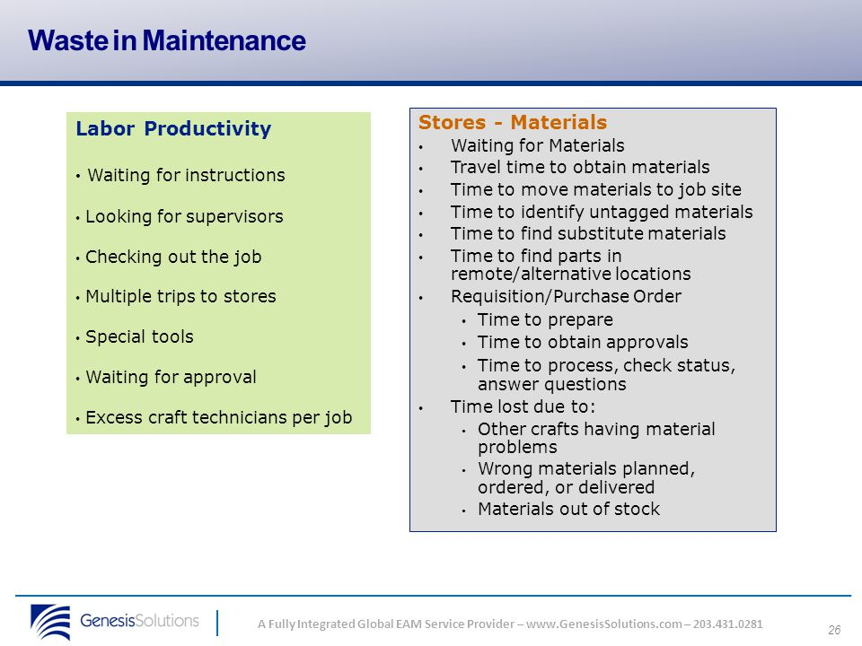 Waste in Maintenance Stores - Materials Labor Productivity