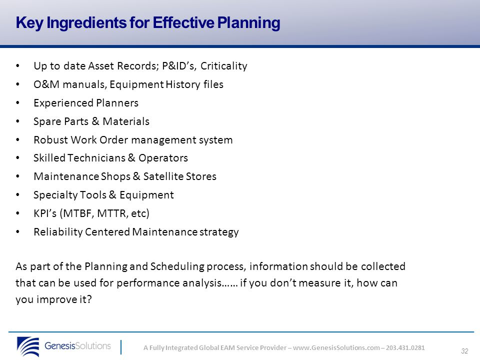 Key Ingredients for Effective Planning