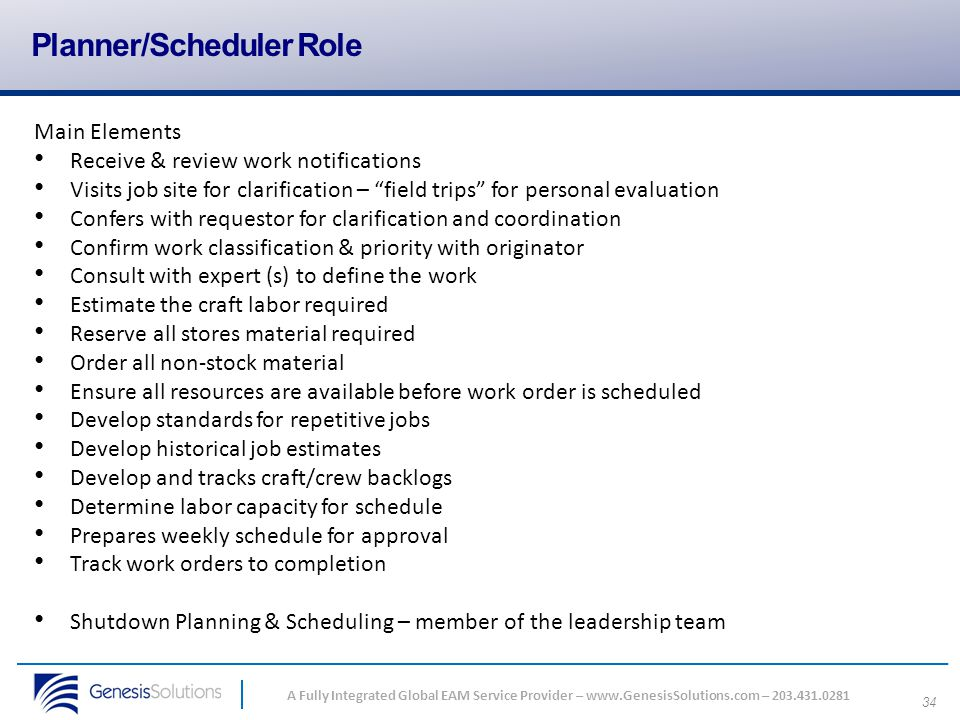 Planner/Scheduler Role