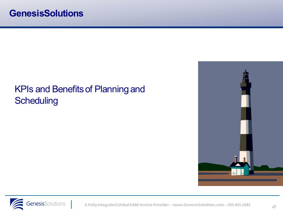 GenesisSolutions KPIs and Benefits of Planning and Scheduling