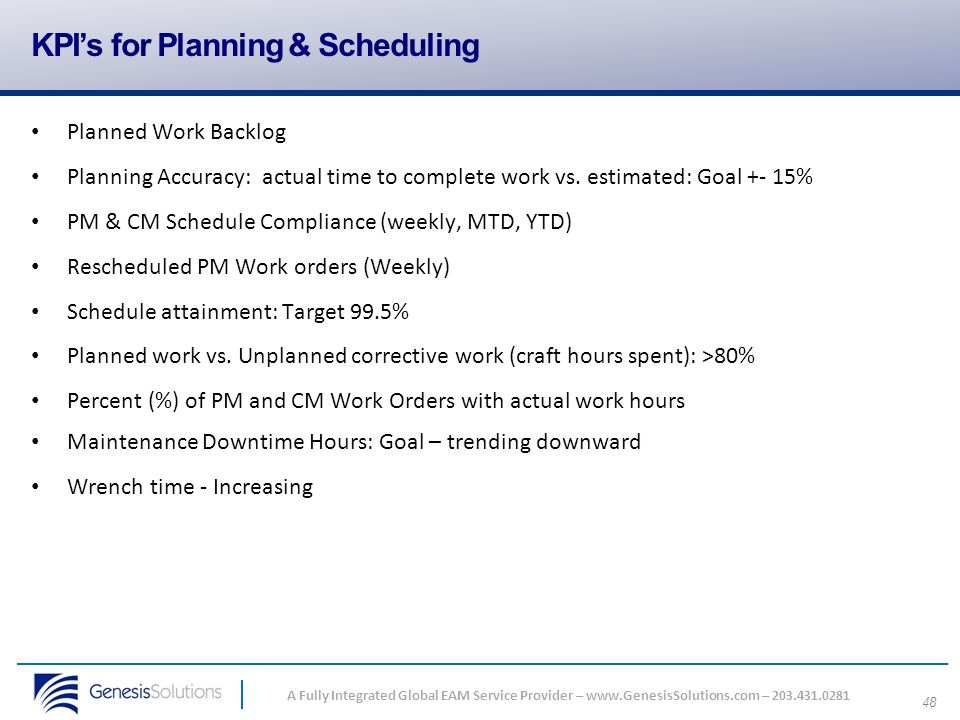 KPI's for Planning & Scheduling
