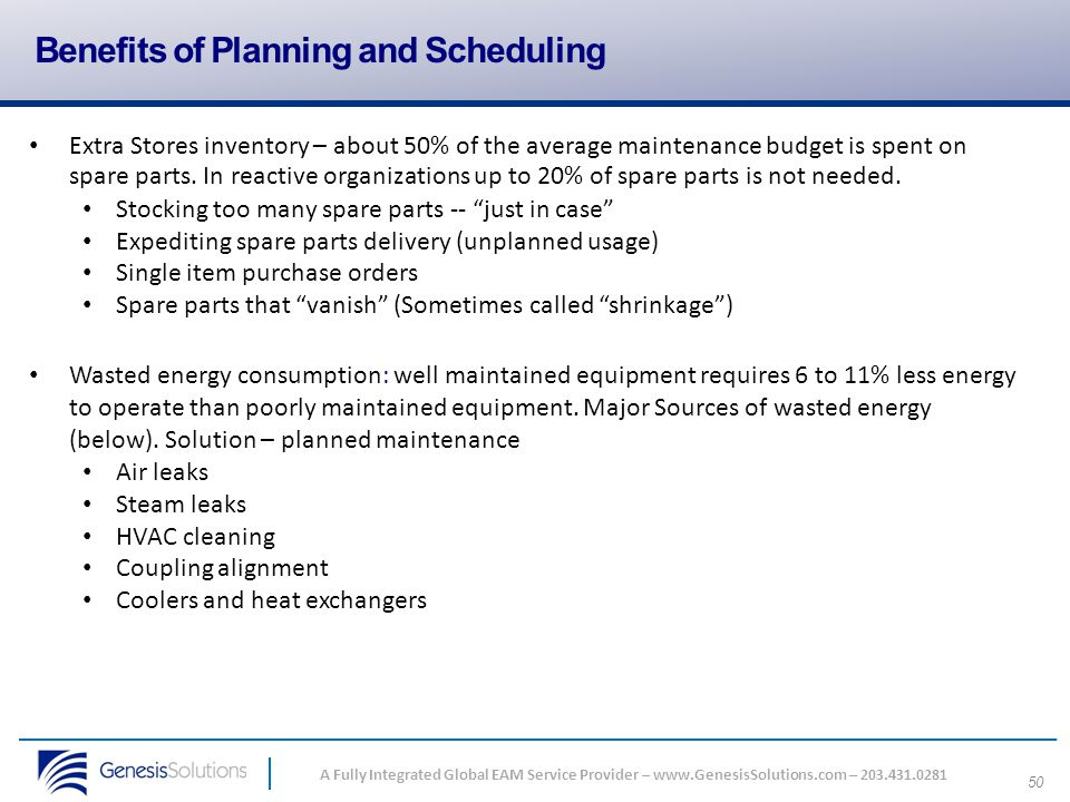 Benefits of Planning and Scheduling