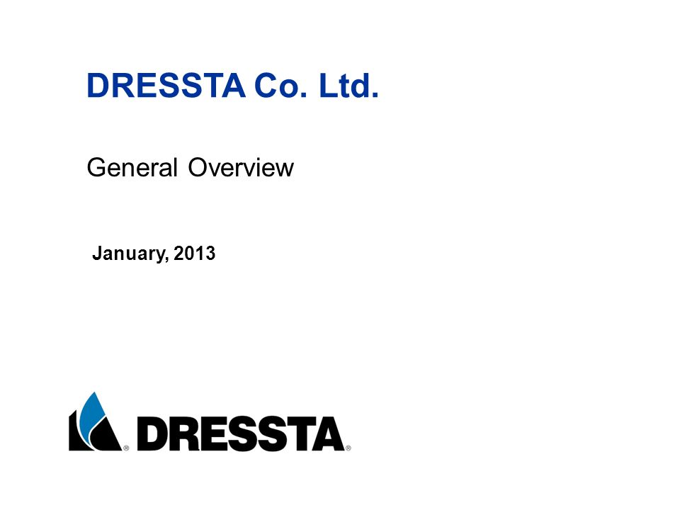 DRESSTA Co. Ltd. General Overview January, 2013