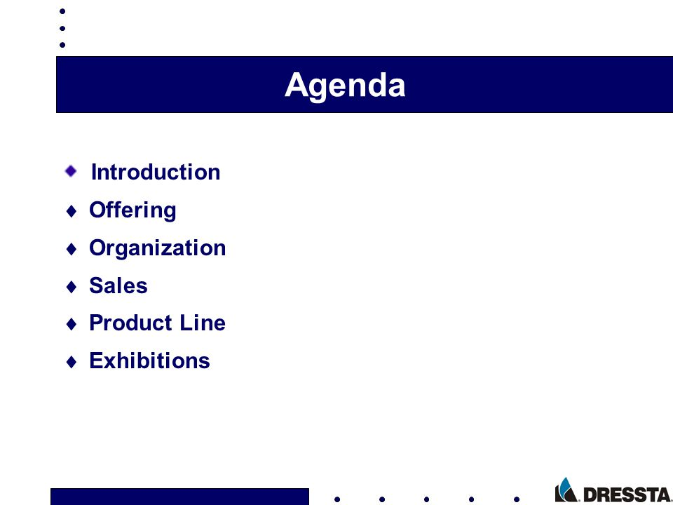 Agenda Introduction Offering Organization Sales Product Line