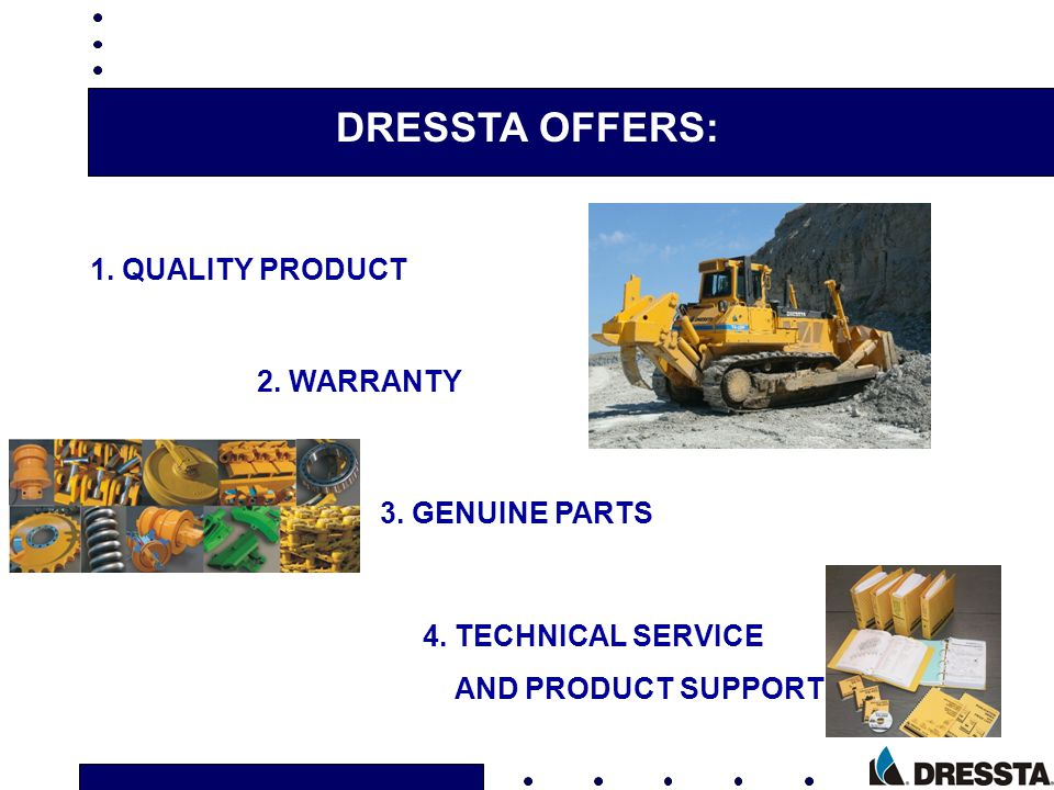 DRESSTA OFFERS: 1. QUALITY PRODUCT 2. WARRANTY 3. GENUINE PARTS