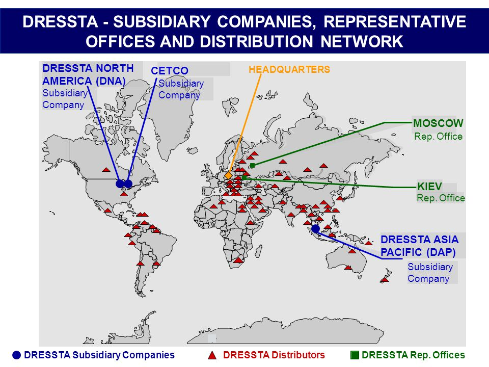 DRESSTA - SUBSIDIARY COMPANIES, REPRESENTATIVE OFFICES AND DISTRIBUTION NETWORK