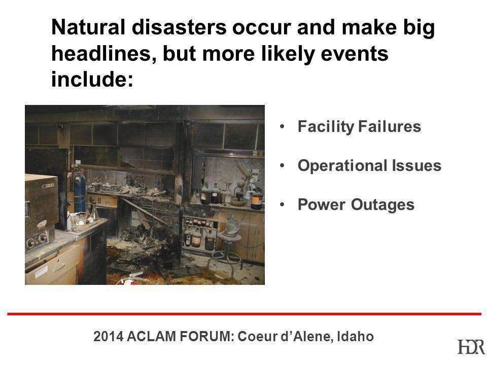 Natural disasters occur and make big headlines, but more likely events include: