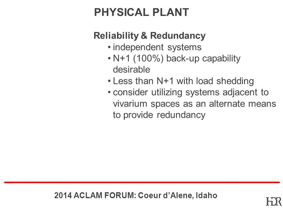 Physical Plant Reliability & Redundancy independent systems