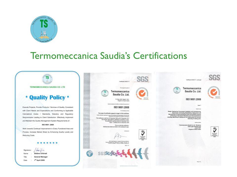 Termomeccanica Saudia's Certifications