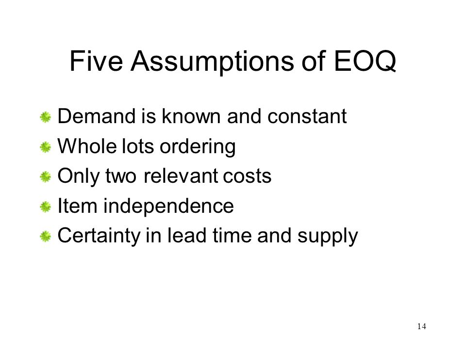 Five Assumptions of EOQ