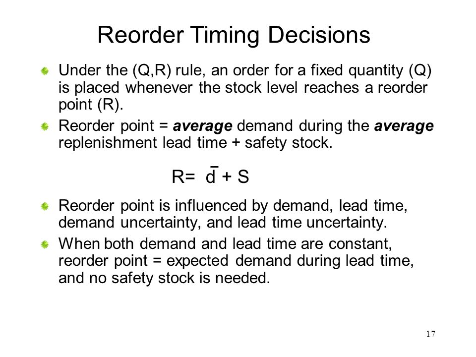 Reorder Timing Decisions