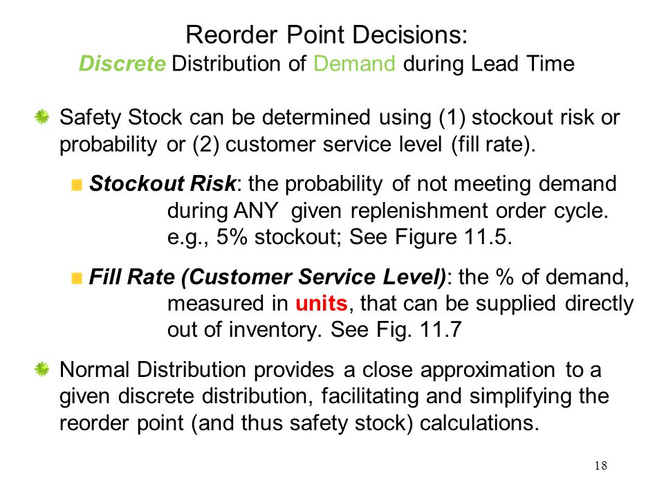 Reorder Point Decisions: Discrete Distribution of Demand during Lead Time