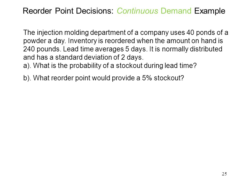 Reorder Point Decisions: Continuous Demand Example