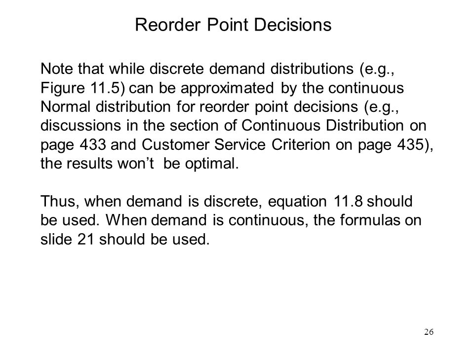 Reorder Point Decisions