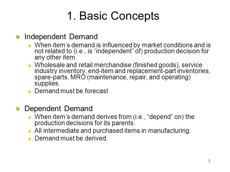 1. Basic Concepts Independent Demand Dependent Demand