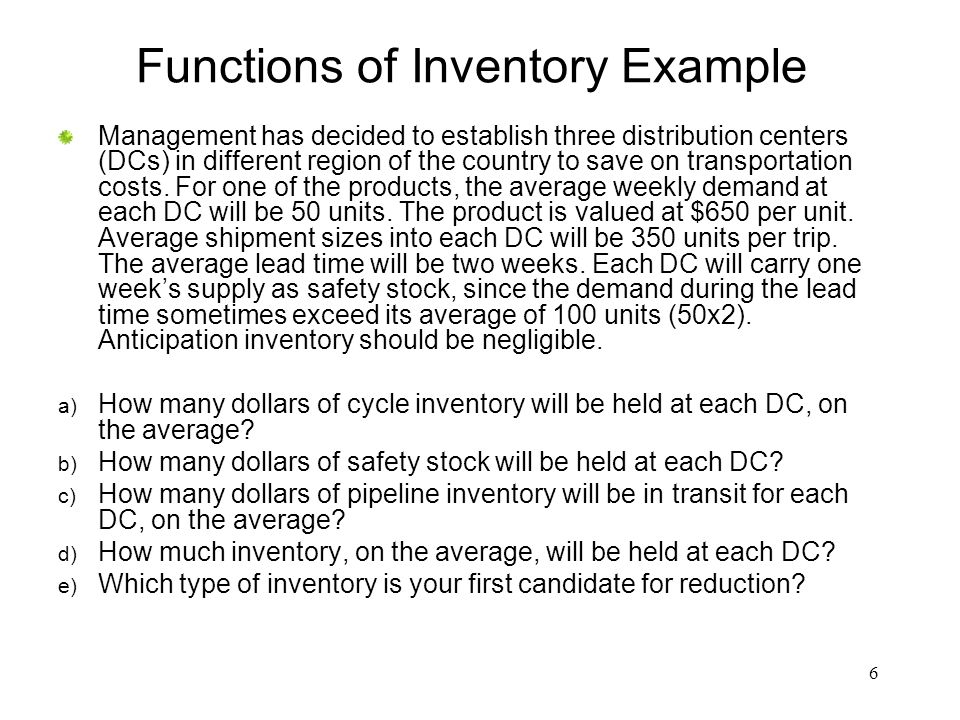 Functions of Inventory Example
