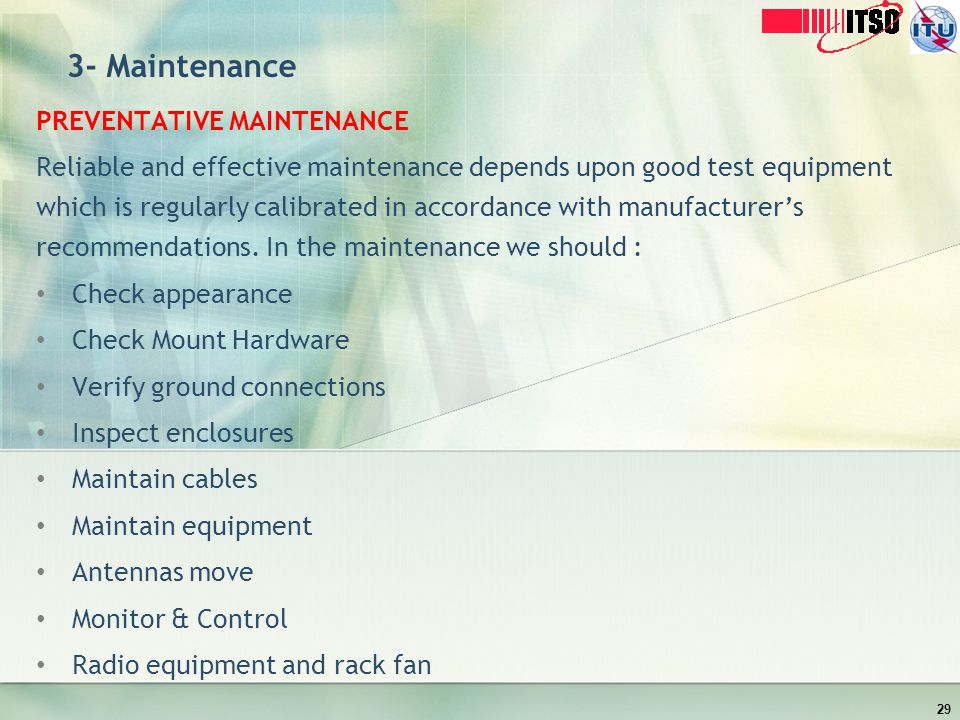 3- Maintenance PREVENTATIVE MAINTENANCE