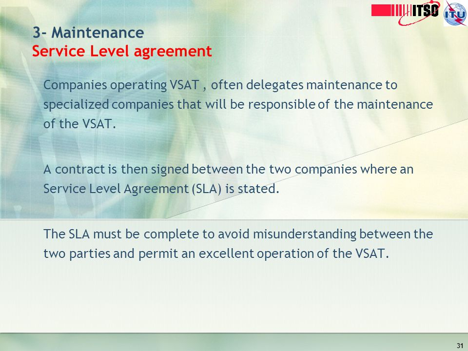 3- Maintenance Service Level agreement