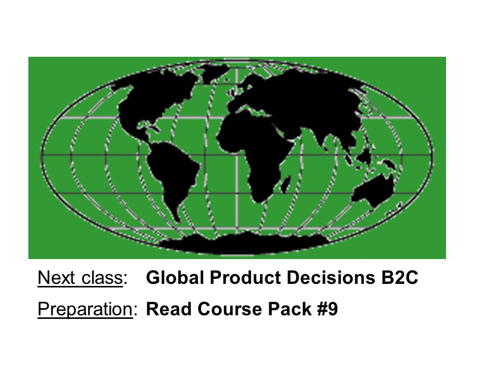 Next class: Global Product Decisions B2C