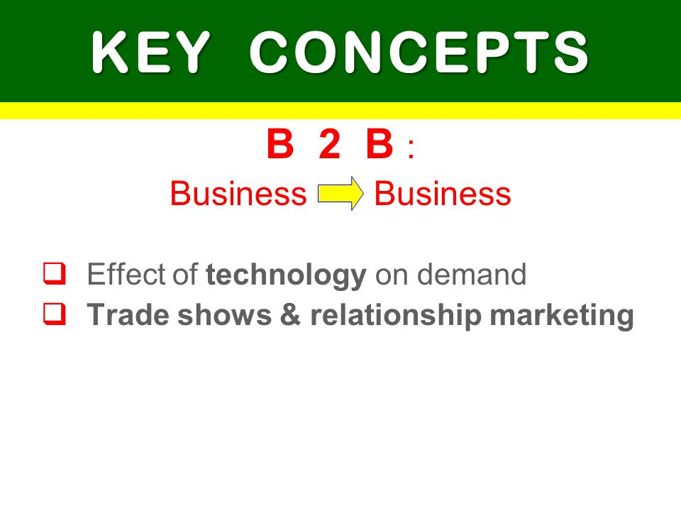 KEY CONCEPTS B 2 B : Business Business Effect of technology on demand