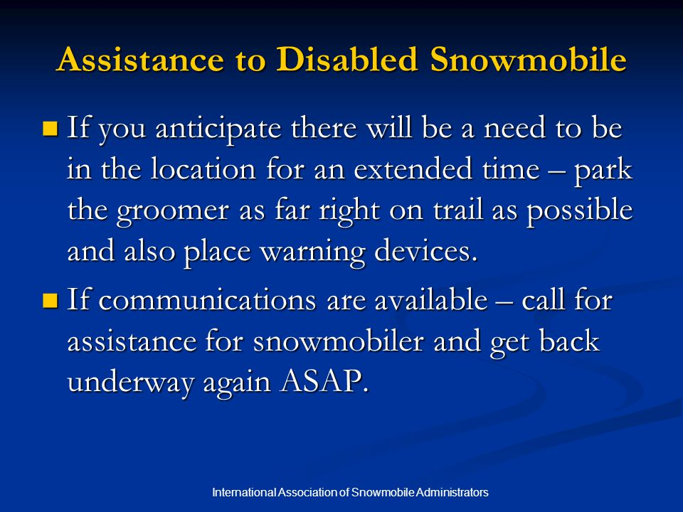 Assistance to Disabled Snowmobile