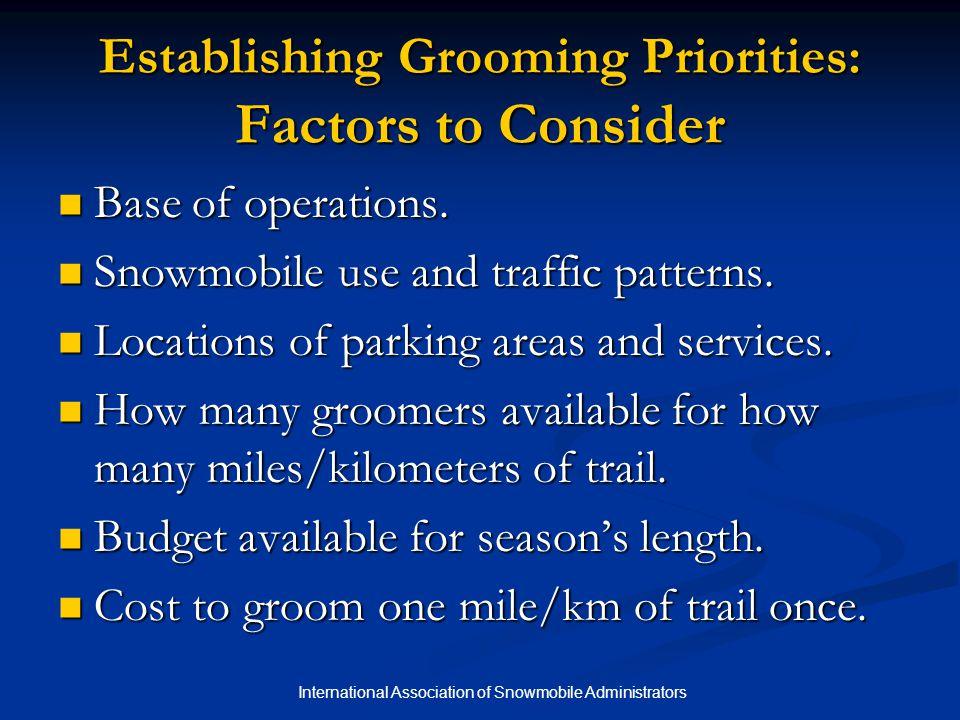 Establishing Grooming Priorities: Factors to Consider